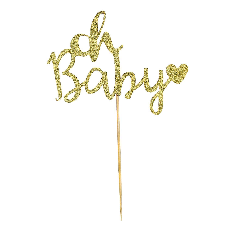 HOT SALE Oh Baby Shower Cake Topper Decoration Hard Cardboard Gold Glitter 1 Pack 17.5*12cm