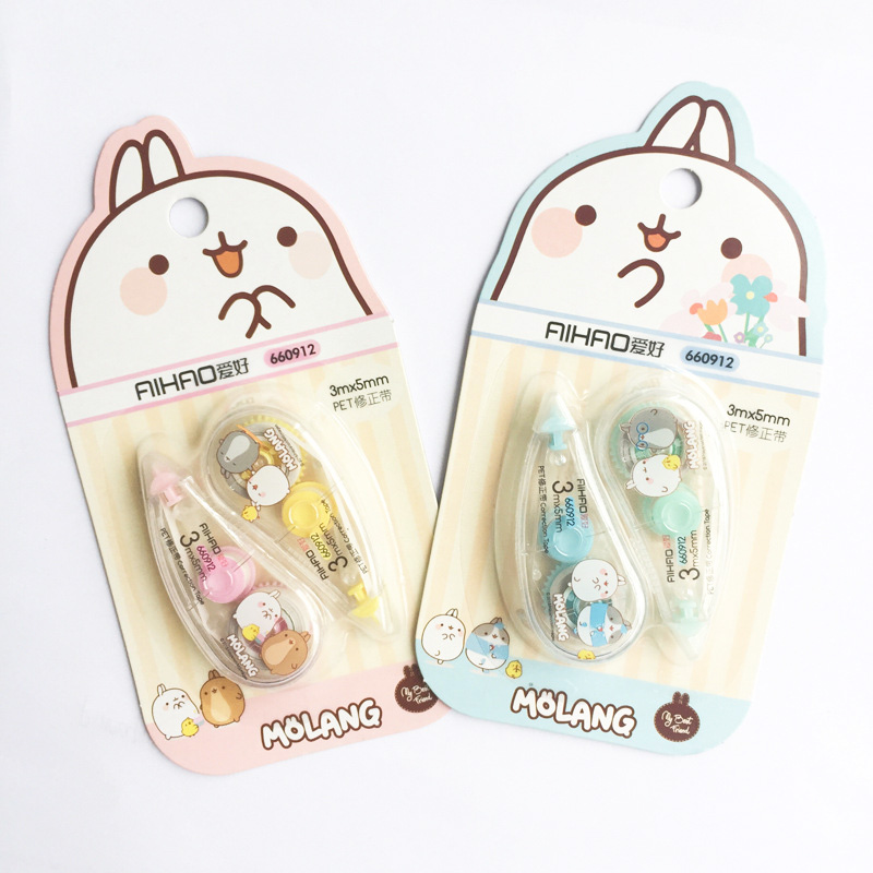 2pcs/lot Correction Tapes 3m*5mm Cartoon Churry Rabbit Correction Tape For School Corrector Tools Office Supplies Stationery