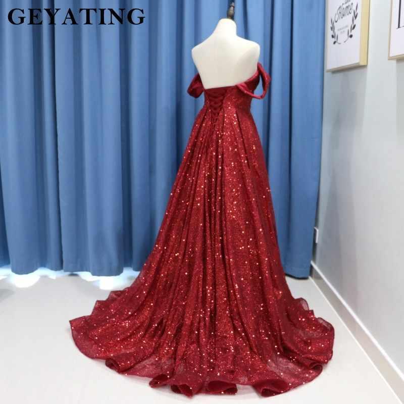 Бордовые с блестками Длинные платья для выпускного вечера 2019 сексуальные с плечевой корсет A Line Вечерние платья женское вечернее платье