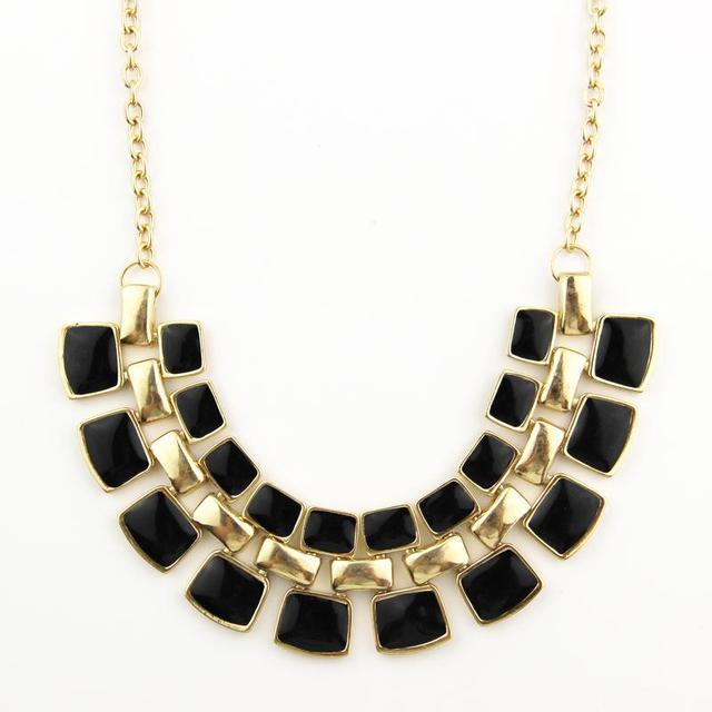 088d00c60a6f 2016 Nueva largo Collares cadena collares declaración collar plateado  esmalte moda negro gargantilla Collar para las