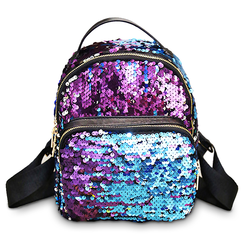 New Arrival Women backpack PU Leather Sequins Backpack for Teenage Girls school bag Small Travel Princess Bling bags