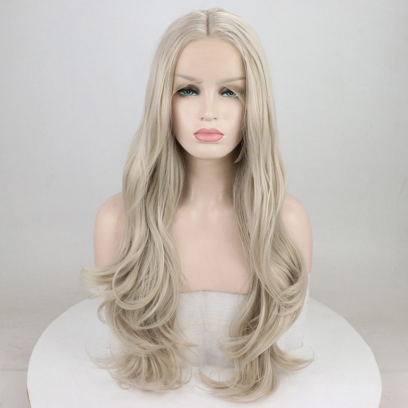 Fantasy Beauty Natural Wavy Platinum Blonde Lace Front Wigs for White Women Realistic Looking Synthetic Hair