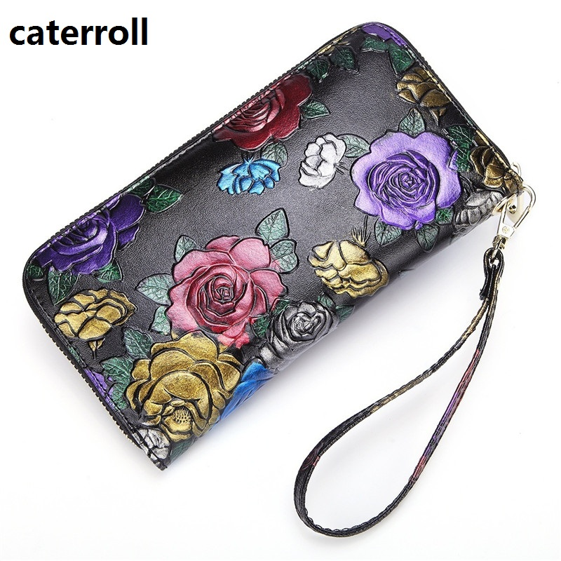 floral wallet women genuine leather clutch purse luxury brand long womens wallets and purses real leather