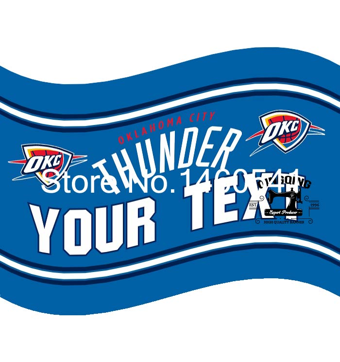 Oklahoma City Thunder YOUR TEXT Flag 3ft x 5ft Polyester NBA Banner Flying Size No.4 144* 96cm QingQing Flag
