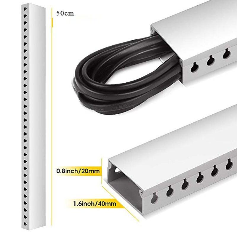 Kit de chemin de câbles Kit de système de gestion de câble conduit de chemin de câbles à fente ouverte avec couvercle sur le mur organisateur de cordon correcteur de câble - 3