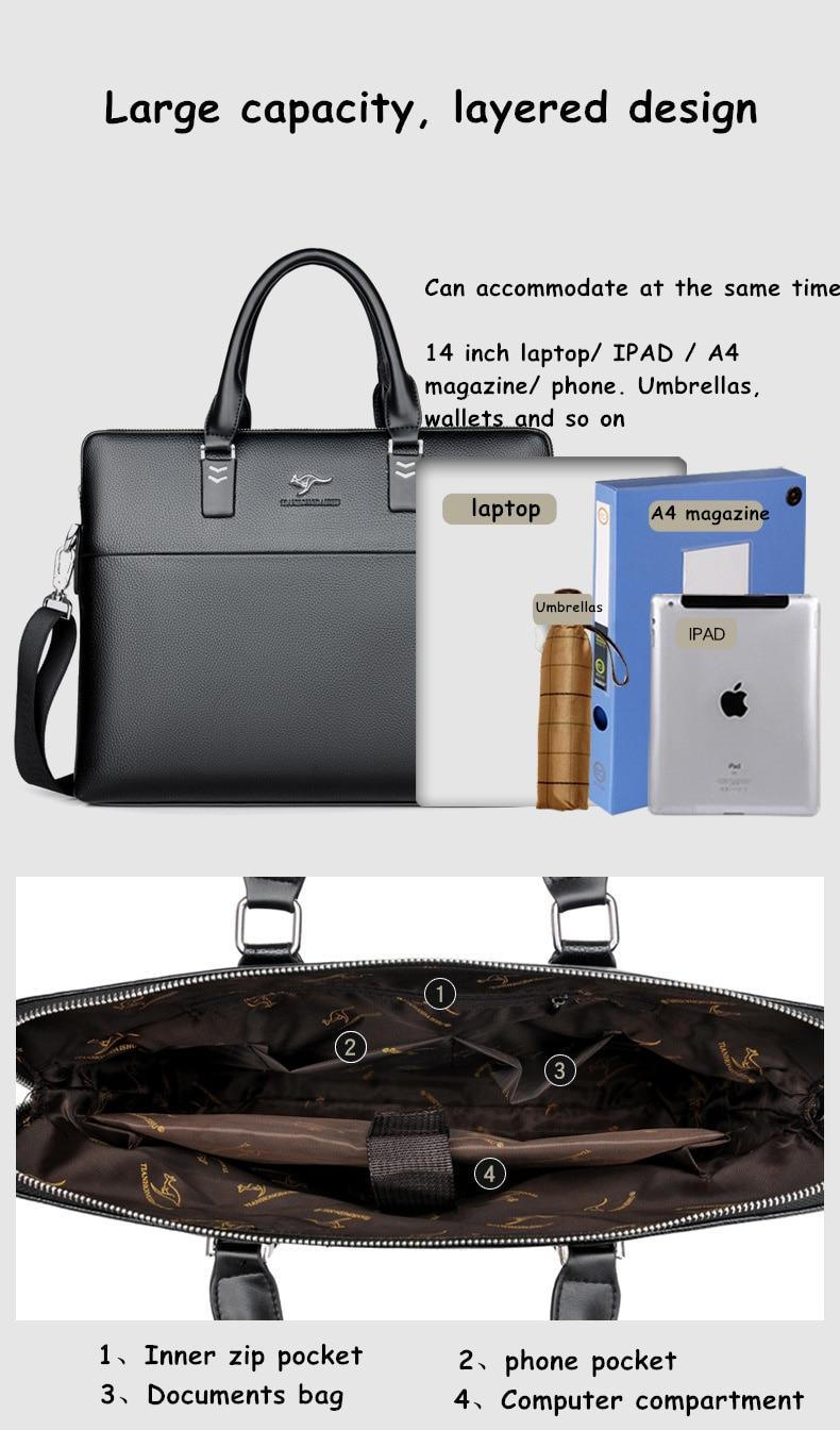 HTB1Si7VgyAKL1JjSZFoq6ygCFXam TIANHONGDAISHU Men Casual Briefcase Business Shoulder Leather Messenger Bags Computer Laptop Handbag Men's Travel Bags handbags