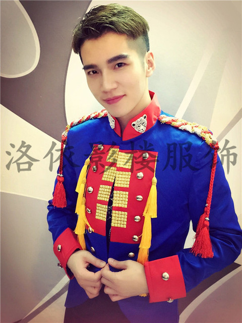 mens stage performance blue leopard collar tuxedo jacket stage wear/singing/bar/event/club/performance jacket