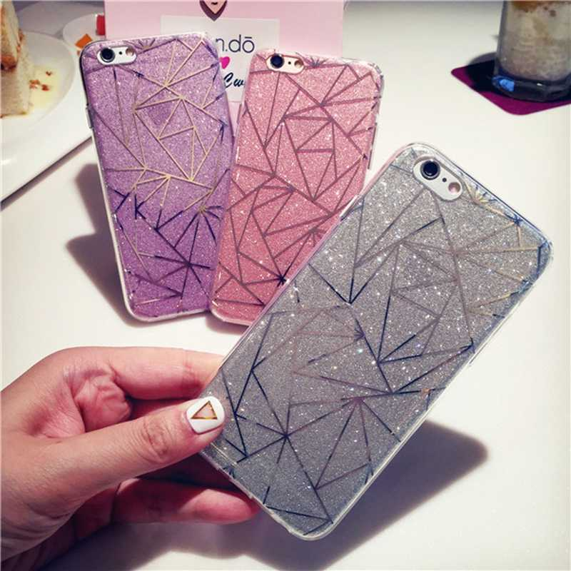 Glitter Bling Powder Phone Case For iPhone 6 s Geometric Lines Hard PC Back Cover Cases For Apple 8 7 Plus 6 6s 5 5s SE X XS