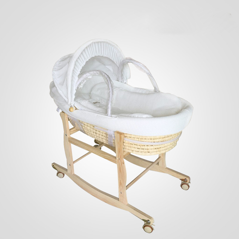 Longer Portable Newborn Baby Basket Baby Cradle Bed  Baby Sleeping Bed  Cotton Bassinet Baby Rocking Chair Bring Support0-12M