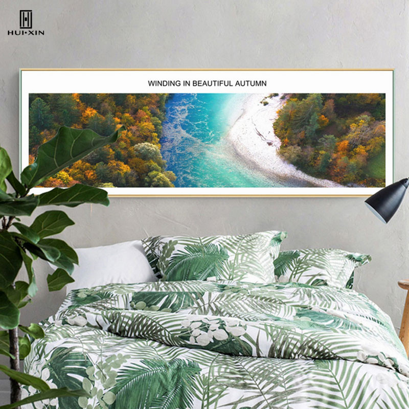 Nordic Brief style Blue Landscape Decorative Canvas Posters Paintings Of Small Blue River Yellow And Green Wooden For Room Decor ...