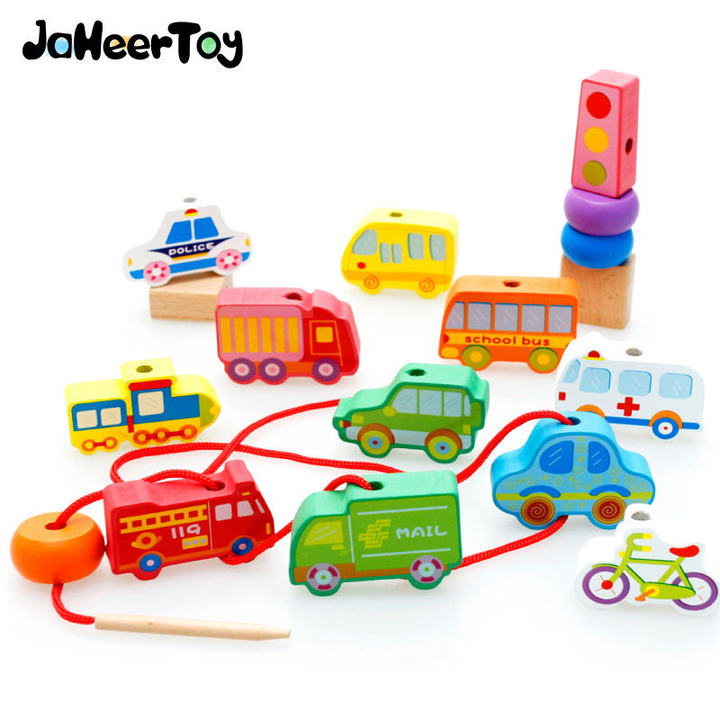 JaheerToy  Baby Eucational Toys for Children Beaded Vehicle Blocks Wooden Toy 3-4-5-6 Years Old Car Pattern Gifts baby educational wooden toys for children building blocks wood 3 4 5 6 years kids montessori twenty six english letters animal
