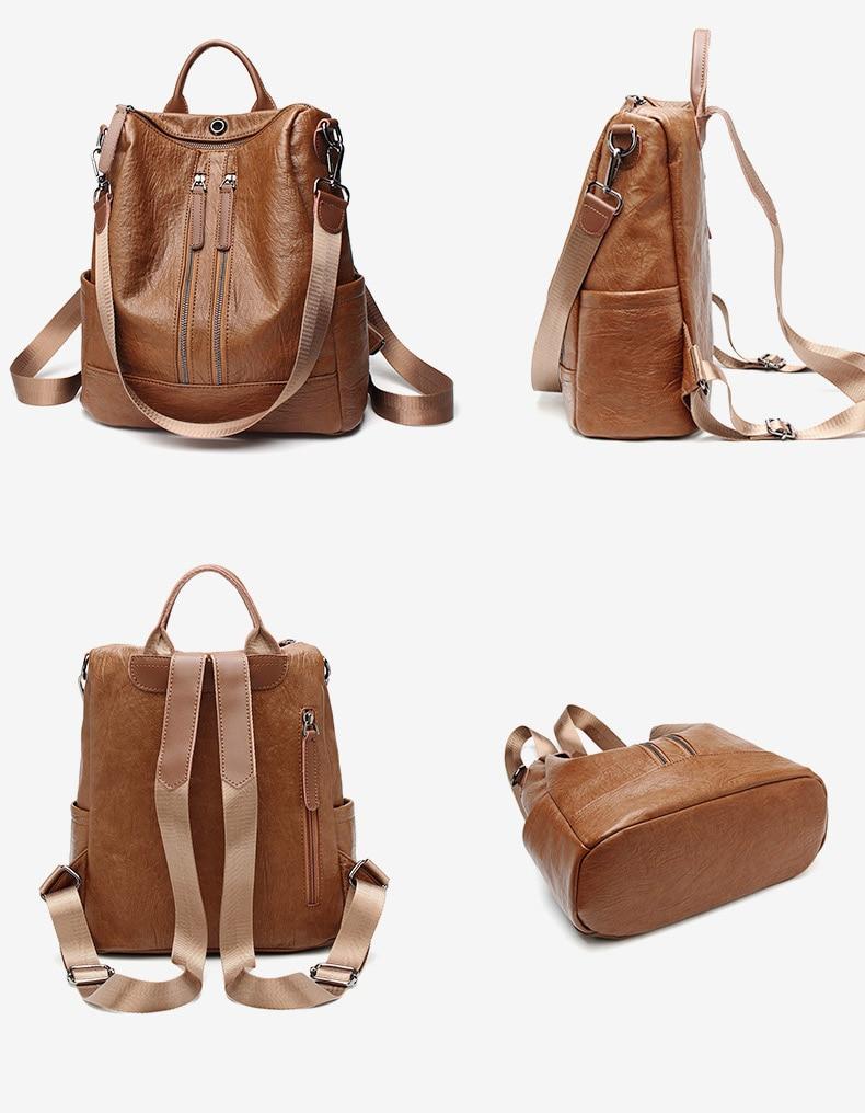 HTB1Si8LbyHrK1Rjy0Flq6AsaFXaY Female backpack mochila feminina casual Multifunction Women Leather Backpack Female Shoulder Bag Sac A Dos Travel Back Pack