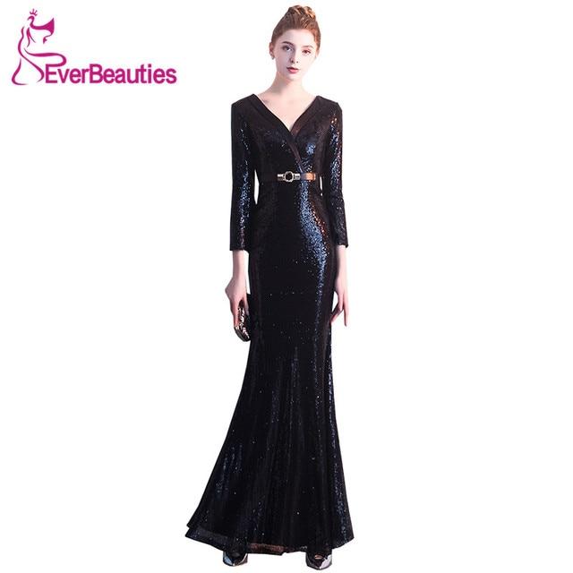 Robe De Soiree Elegant Mermaid Evening Dresses Long 2019 Sequin Formal Dress  Women Abendkleider Abiye Gece Elbisesi Evening Gown e05ffec1d249