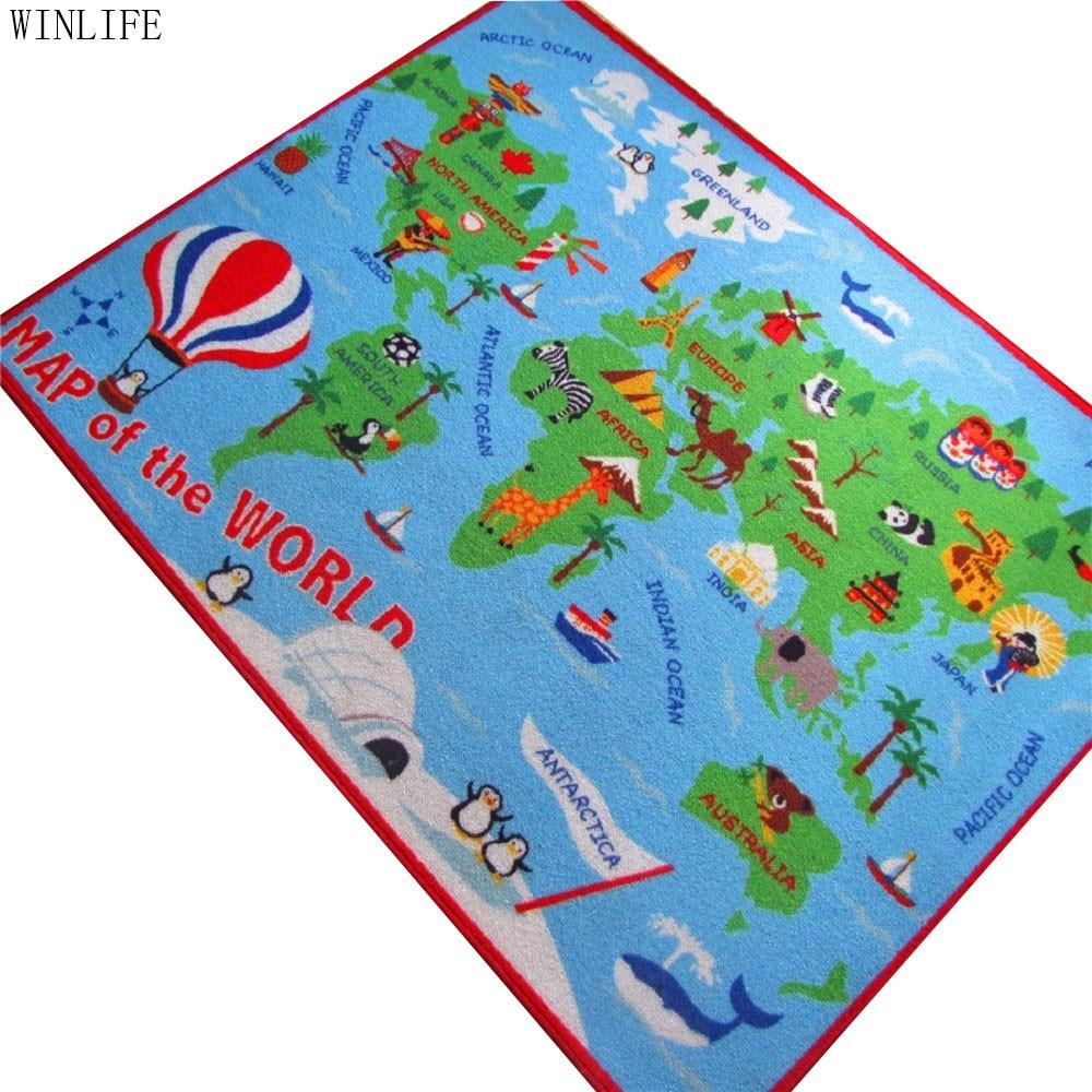 WINLIFE World Map Carpet Cartoon Kids Rug