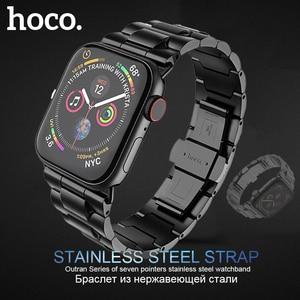 Image 1 - HOCO נירוסטה רצועת עבור אפל שעון סדרת 6 5 4 3 2 1 להקת מתכת פרפר אבזם צמיד עבור iWatch SE 42/44/38/40mm