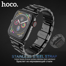 HOCO Stainless Steel Strap for Apple Watch Series 6 5 4 3 2 1 Band Metal Butterfly Buckle Bracelet for iWatch SE 42/44/38/40mm