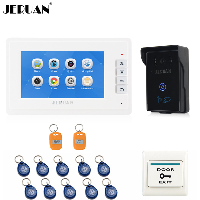 JERUAN 7 inch Video Door Phone Doorbell Intercom System Home access control system RFID Video Recoreding Sound Recording 8GB 7 inch password id card video door phone home access control system wired video intercome door bell
