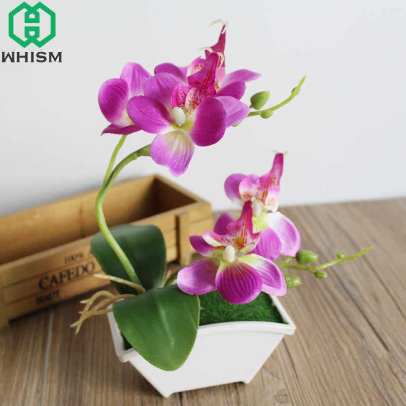 Whism Mini Artificial Butterfly Orchid Bonsai Simulation