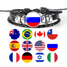 ФОТО national flags russia spain usa charm bracelet bangles leather braided rope bracelet punk style women men gift wholesale