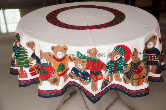 Free Shipping Round 152cm Christmas Bear Round Tablecloth