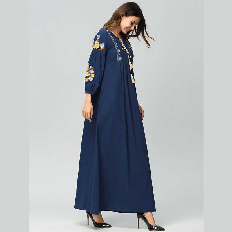 Vestido 2018 الإمارات العربية المتحدة عباية قفطان دبي بنغلاديش تركيا المرأة التطريز الحجاب فستان مسلم جلباب رداء الملابس الإسلامية التركية