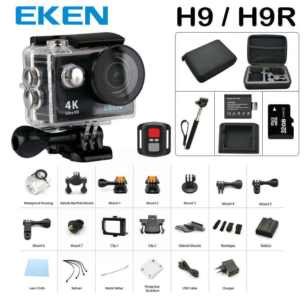 ФОТО New Arrival Bundle Action Camera 100% Original Eken H9/H9R Ultra HD 4K 30M sport 2.0' Screen 1080p FHD go waterproof pro camera