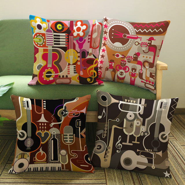 Abstract Guitar Music Instrument Print Decorative Pillows Home Decor Cotton  Linen Square Sofa Cushion Covers Pillow