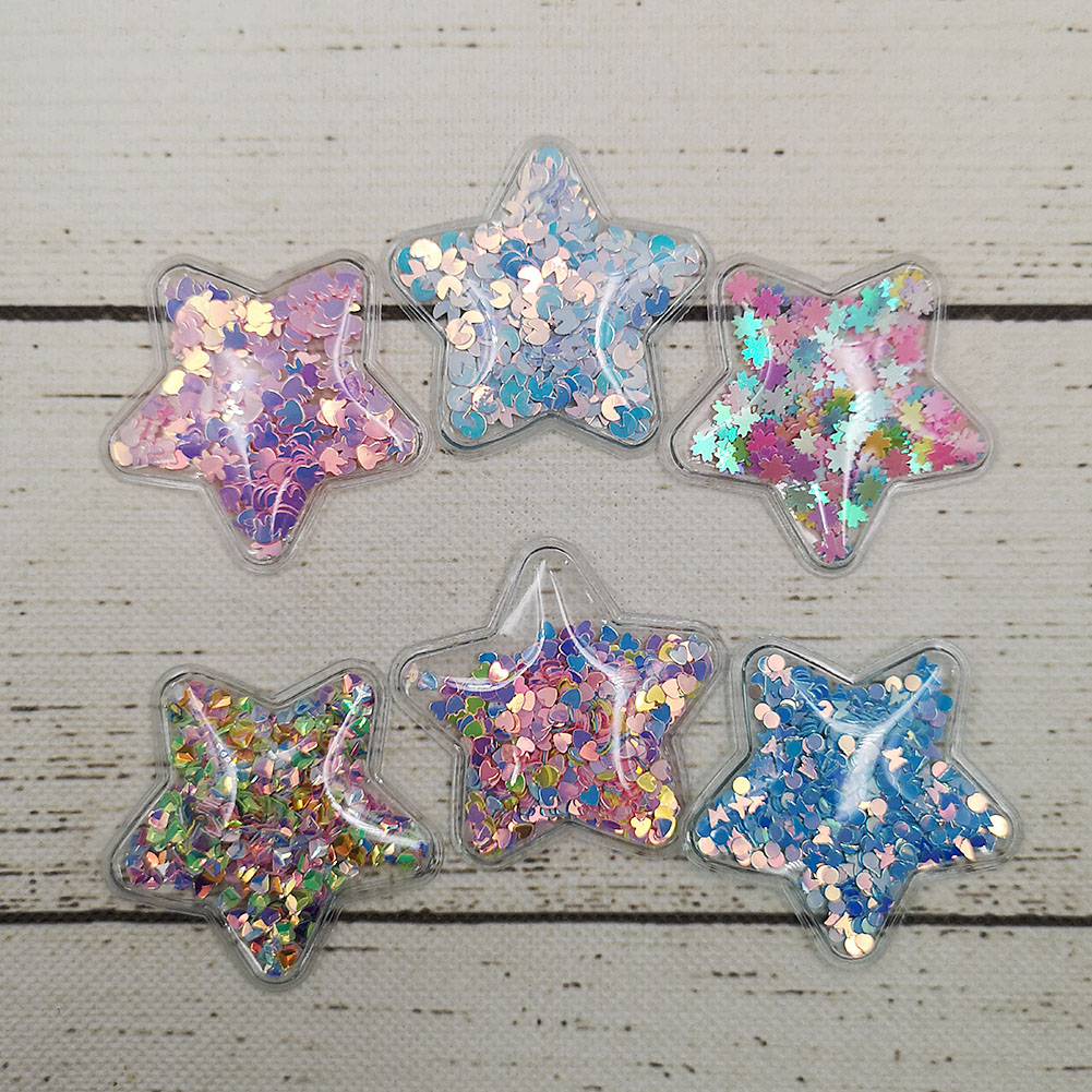 5cm 3D Transparent Sequined Flowing Confetti Star Crown Rabbit Shape Glitter Sequins For Wedding Christmas Decor Stick-On Wall