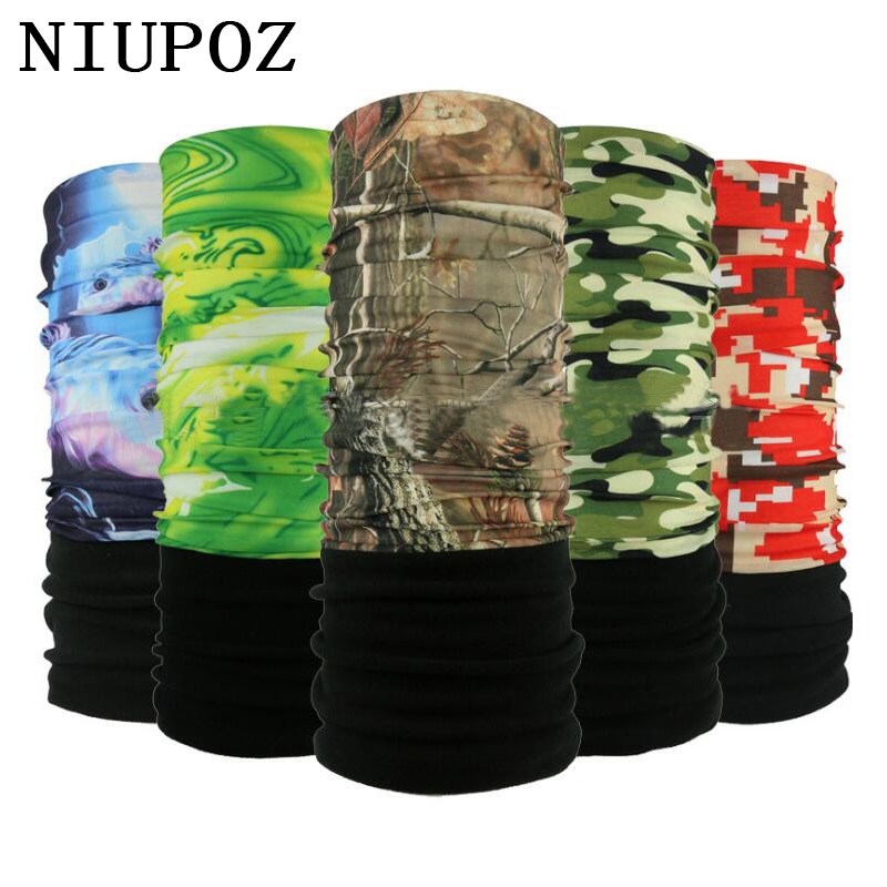 Winter Fleece Warm Magic Tube Ring Bandana Skull Scarf Neck Camouflage Leaves Multi Functional Headband Seamless Tubular