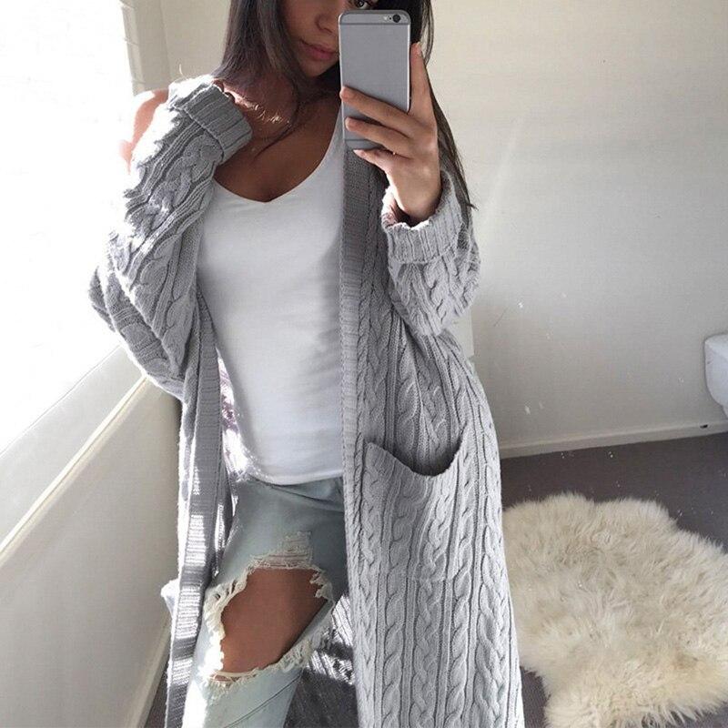 Bigsweety לפתוח חזית קרדיגן סוודרים נשים ארוך שרוול חדש נשי אלגנטי כיס סרוג הלבשה עליונה סוודר באיכות גבוהה