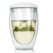Kurze Tragbare Drinkwasserglas Flaschen Hohe Borosilikat Doppelwandigen Glas Infuser Deckel mit 350 ml/450 ml Klare Tee flasche