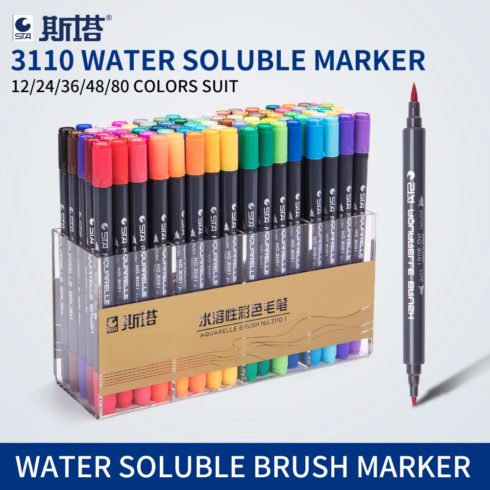 STA 80 colores doble cabeza artista Soluble de color dibujo marcador cepillo pluma pincel de diseño de dibujo pinturas arte marcador suministros