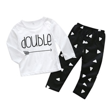 Newborn  Baby Boys Clothes 2018 Summer New Long Sleeve Letter T-shirt+Pants 2pcs Baby Suit O-Neck Infant Clothing Set