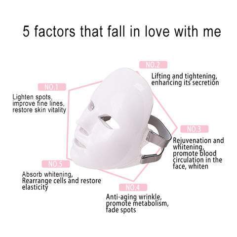 7 cores led mascara facial com terapia