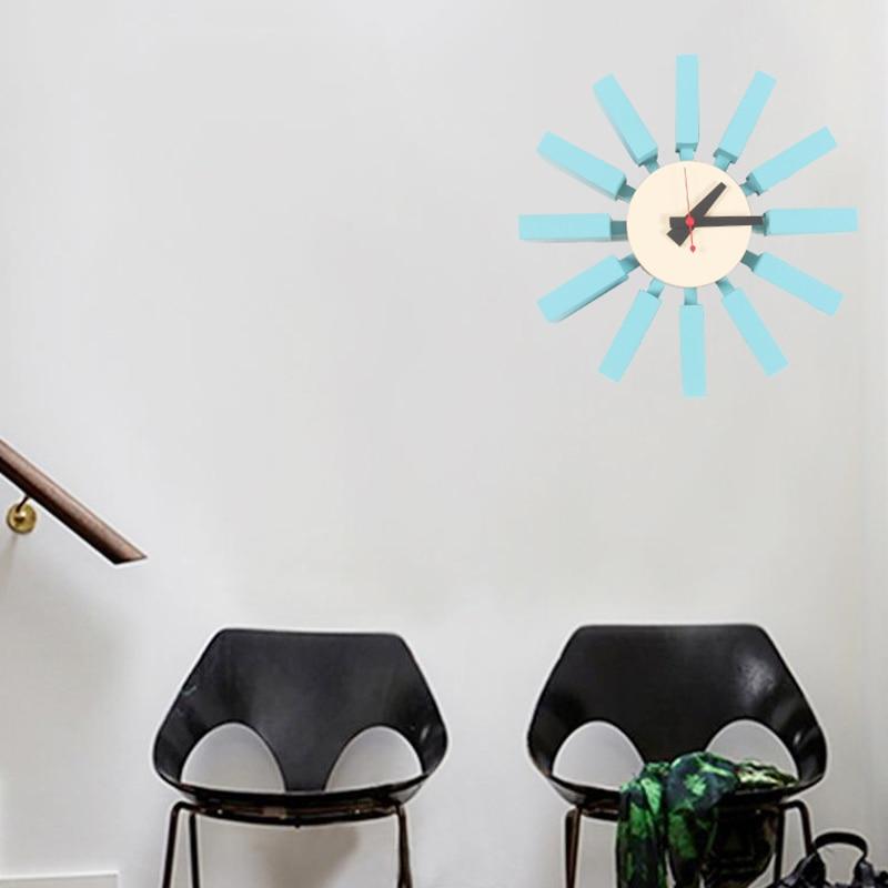111 ホット販売高品質 3d ブルーブロック時計スイープ第二家の装飾テレビの背景の壁時計木  グループ上の ホーム&ガーデン からの 壁時計 の中 1