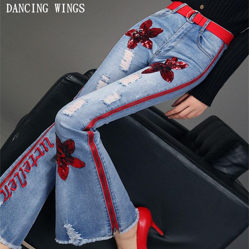 Maigre Élastique Lettres Fahion Femmes Jeans Longue Pantalon Paillettes Taille Denim Vintage Haute Cloche Flare Broderie Trou Bleu Fond A6x1FIwqp