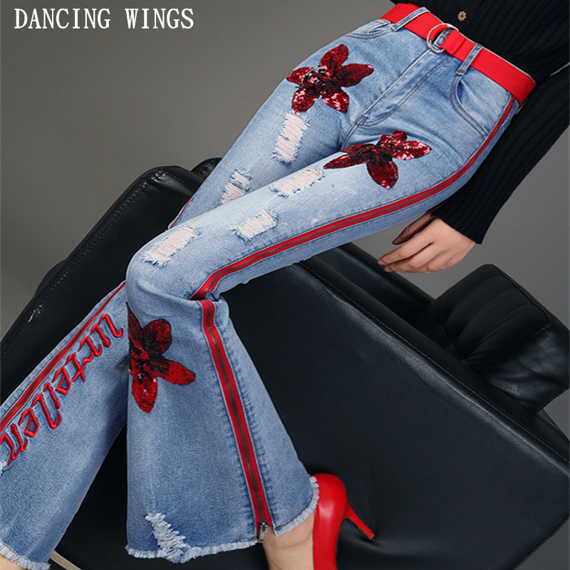 Vintage Embroidery Letters High Waist Elastic Flare   Jeans   Fahion Sequins Hole Women Long Bell Bottom Skinny Denim Pants