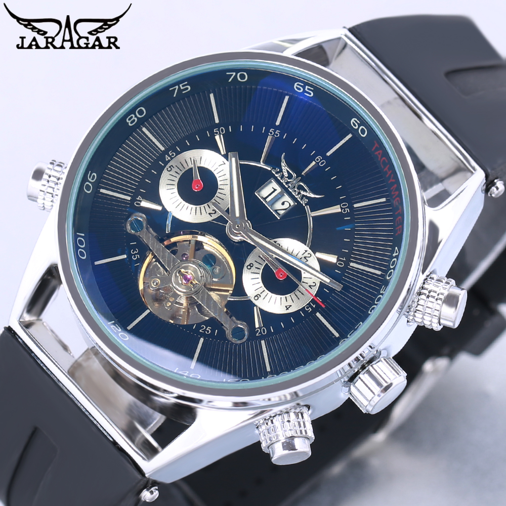 JARAGAR Brand Classic Business Mechanical Watch Men Luxury Tourbillon Automatic Watches Rubber Band Auto-Calendar Wristwatches free shipping iso40 nt40 oz25 80mml collet chuck milling toolholder use oz25 collet clapming 3 25mm tools