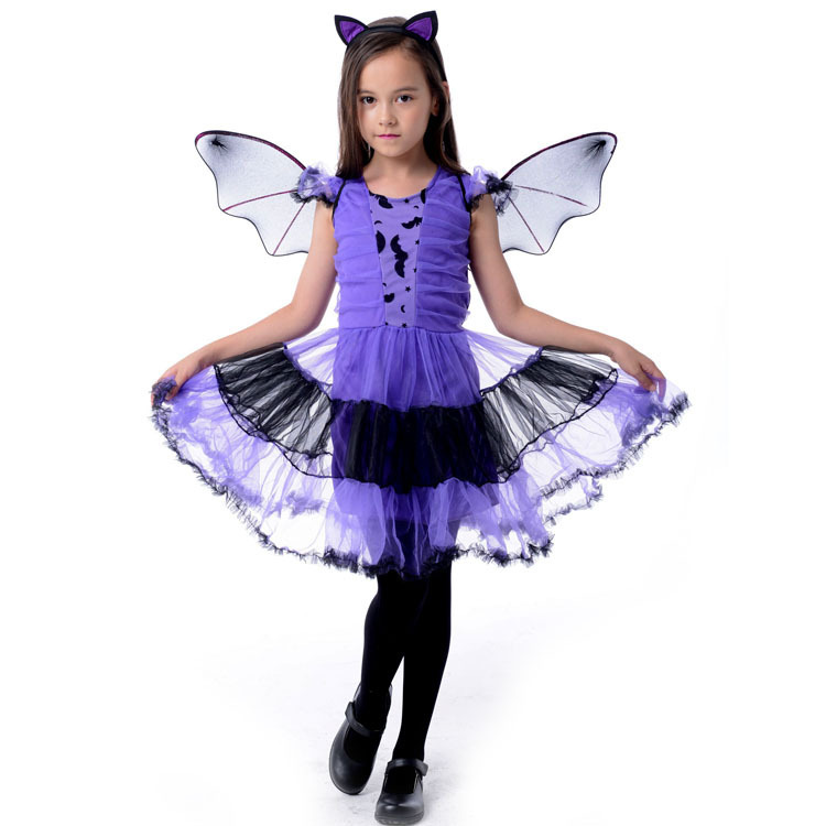 girls gothic witch costumes kids child halloween costume for girls Cosplay Christmas Halloween Fancy Dresses carnaval Bat Girl