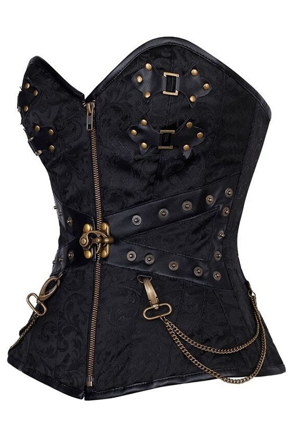 Black-Zip-Front-Steampunk-Corset-with-Thong-LC5394-1