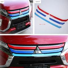 Lapetus Accessories Fit For Mitsubishi Eclipse Cross 2018 - 2020 ABS Front Head Grille Grill Colorful Strip Molding Cover Trim lapetus front head lights headlight switches button cover trim abs fit for mitsubishi eclipse cross 2018 2019