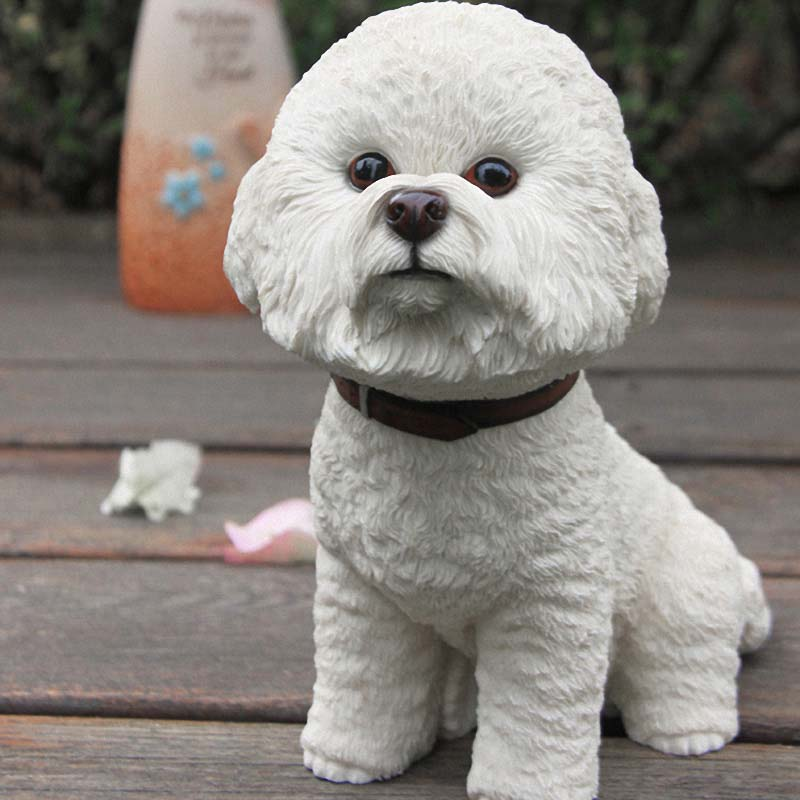 Mnotht Bichon Frise Simulación Perro Resina Cachorro Modelo de - Figuritas de juguete - foto 2