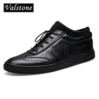 Valstone Men S Genuine Leather Shoes Ankle Board Shoes Slip On Flats With Strainer Lace Up
