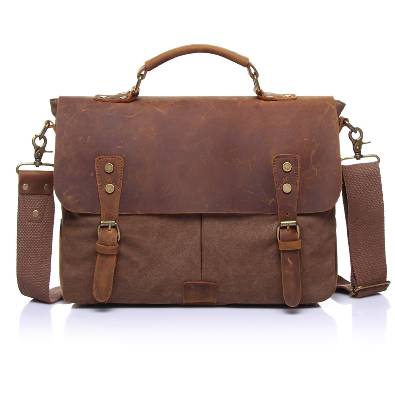 ФОТО New Retro Men Messenger Bag Canvas Laptop Bags Male Crossbody Bag Vintage Business Handbag Tote Briefcase