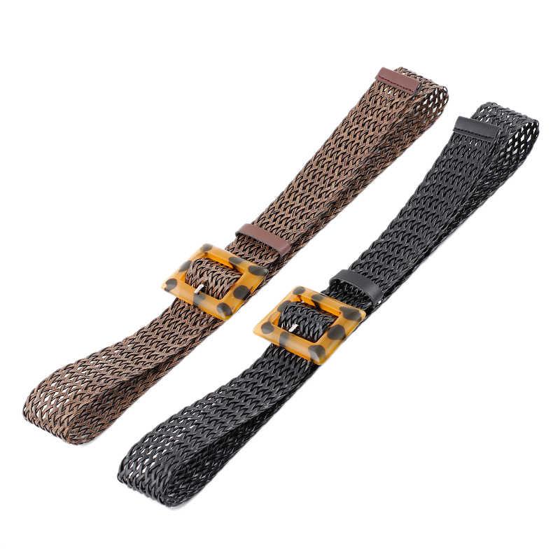 Ceinture ceinture pantalon Ping peau mode carré boucle large ceinture femmes décontracté armure ceinture sangle