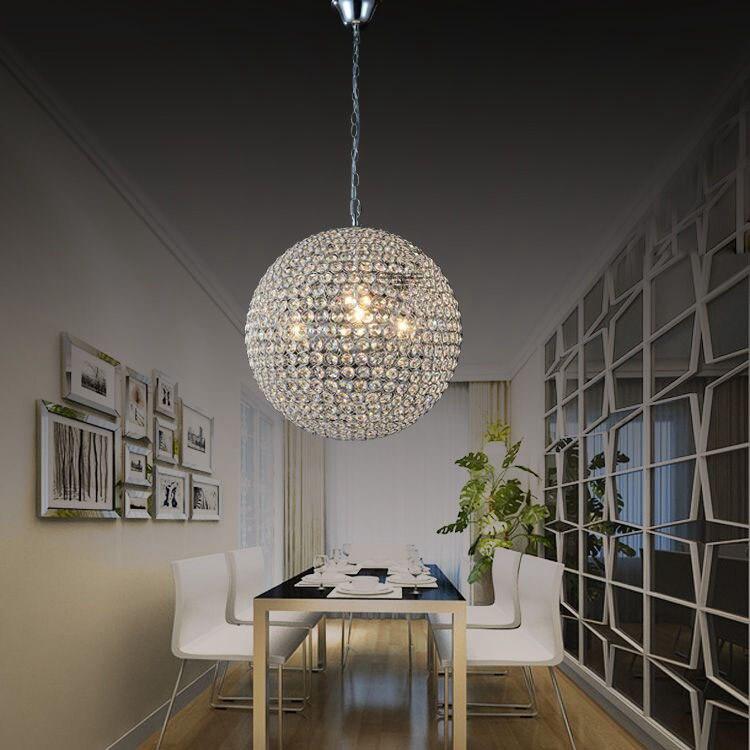 Modern Stainless Steel Crystal Ball Pendant Lamp High Power Led Lamps Living Room Lights