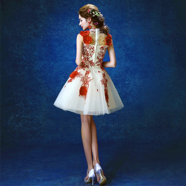 Short white wedding dress high collar red flower embroidered short white wedding dress high collar red flower embroidered wedding party dress vintage style fashion bride dress in dresses from womens clothing junglespirit Image collections