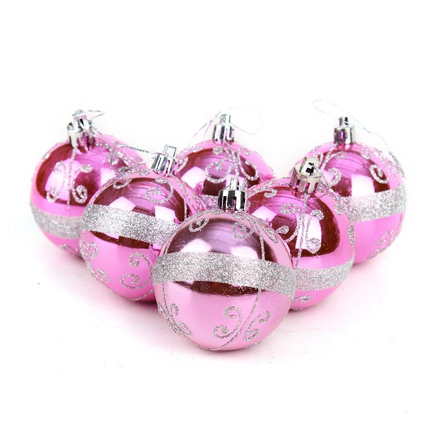 unids paquete cm rosa partido bolas de navidad adornos de navidad