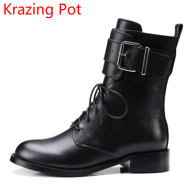 New Arrival Thick Heel Round Toe Lace Up Motorcycle Boots Superstar Party Retro Gladiator Handmade Women Mid-Calf Boots L3f1 round up 1 2 3