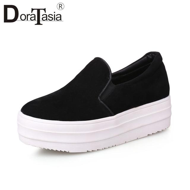 23db2ac9bd00 DoraTasia 2019 wiosna jesień klasyczne płaskie grube buty na koturnie  kobieta duży rozmiar 31-43